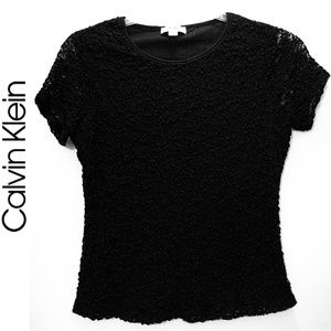 Calvin Klein Lace / Textured Top with Lining Sz PL